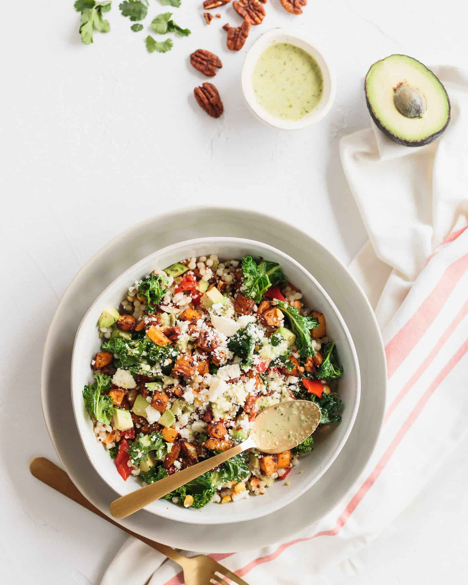 grain bowl from above with sweet potato, cilantro, limes